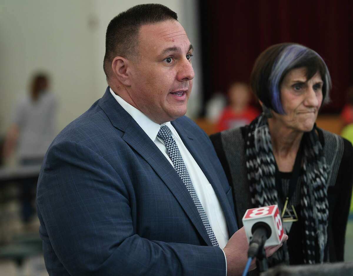 Ansonia Superintendent of Schools Joe Dibacco and U.S. Rep. Rosa DeLauro, D-3, address the impact of the Trump Administration's proposed rule changes to the Supplemental Nutrition Assistance Program, or SNAP during a visit to the summer meals program at Mead School in Ansonia, Conn. on Wednesday, July 31, 2019.