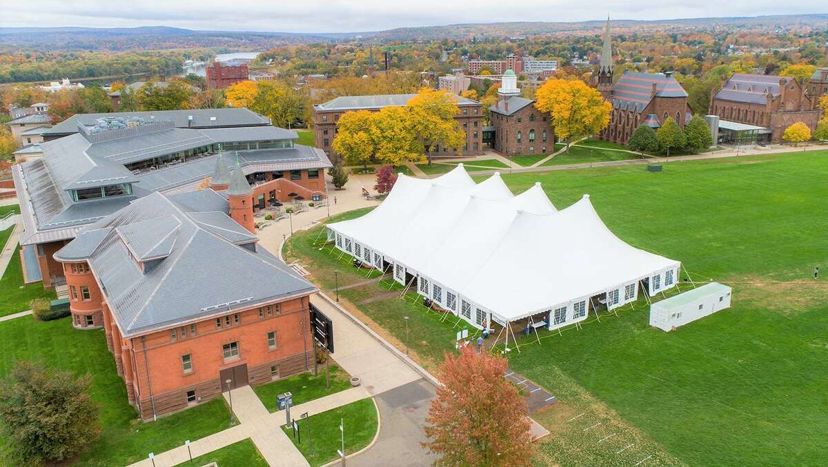 An aerial view of the Wesleyan University COVID-19 testing facility in Middletown