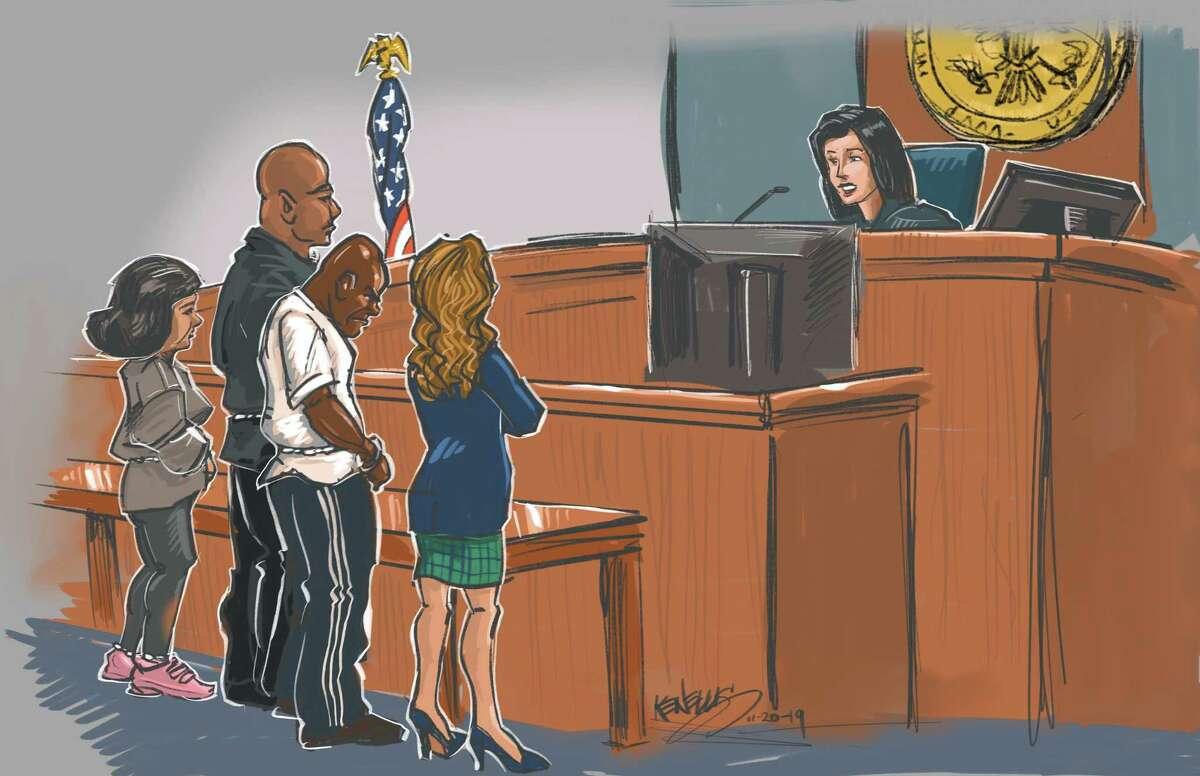 L to R, Patricia Ann Garcia; Steven Bryant; Gerald Goines; Nicole DeBorde; U.S. Magistrate Judge Dena Hanovice Palermo in federal court in Houston.