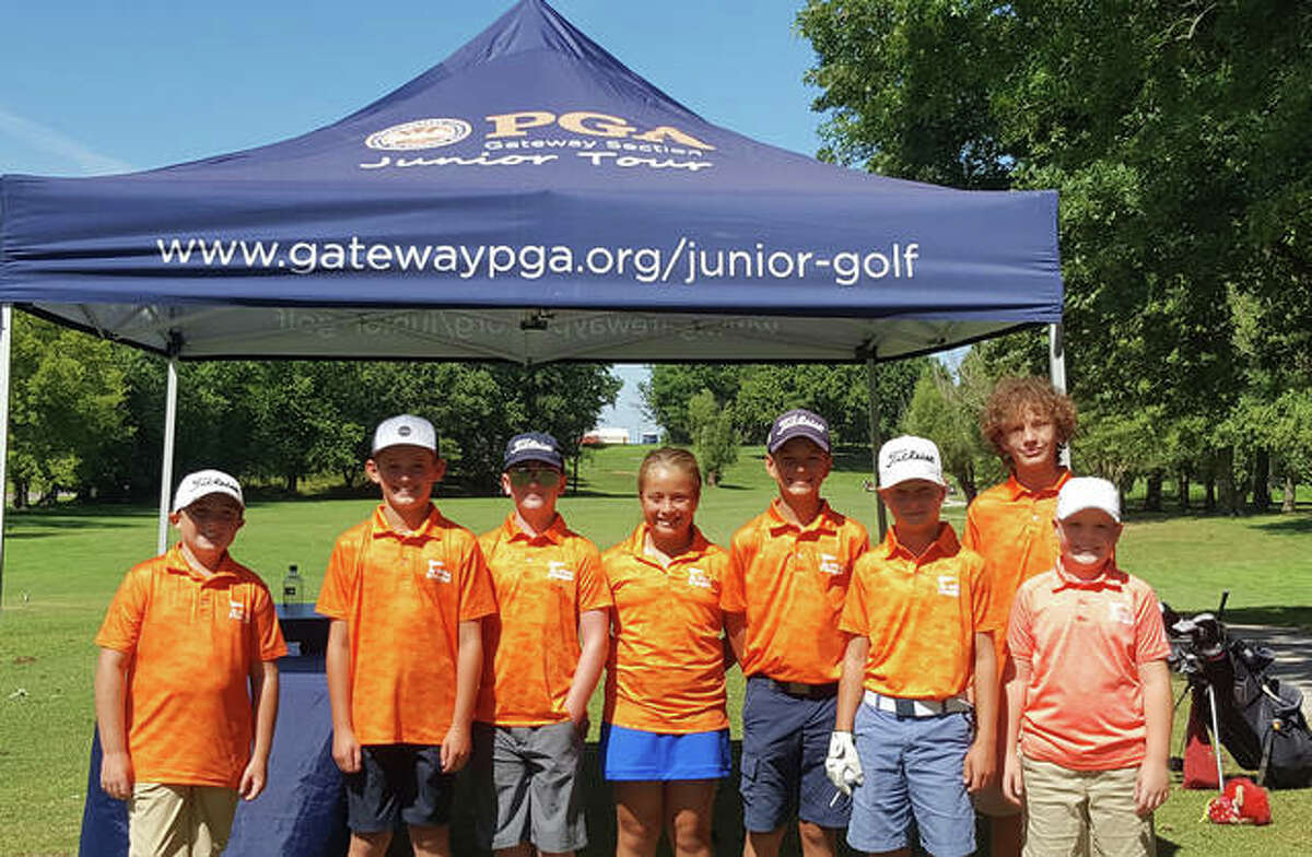 A 2020 all-star team from the PGA Junior League at Oak Brook Golf Club included, left to right, Eli Lucas, Drew Bailey, Davis Clark, Ally Suhre, Ryan Suhre, Carson Tribout, Luca Tallerico and Drew Capron.
