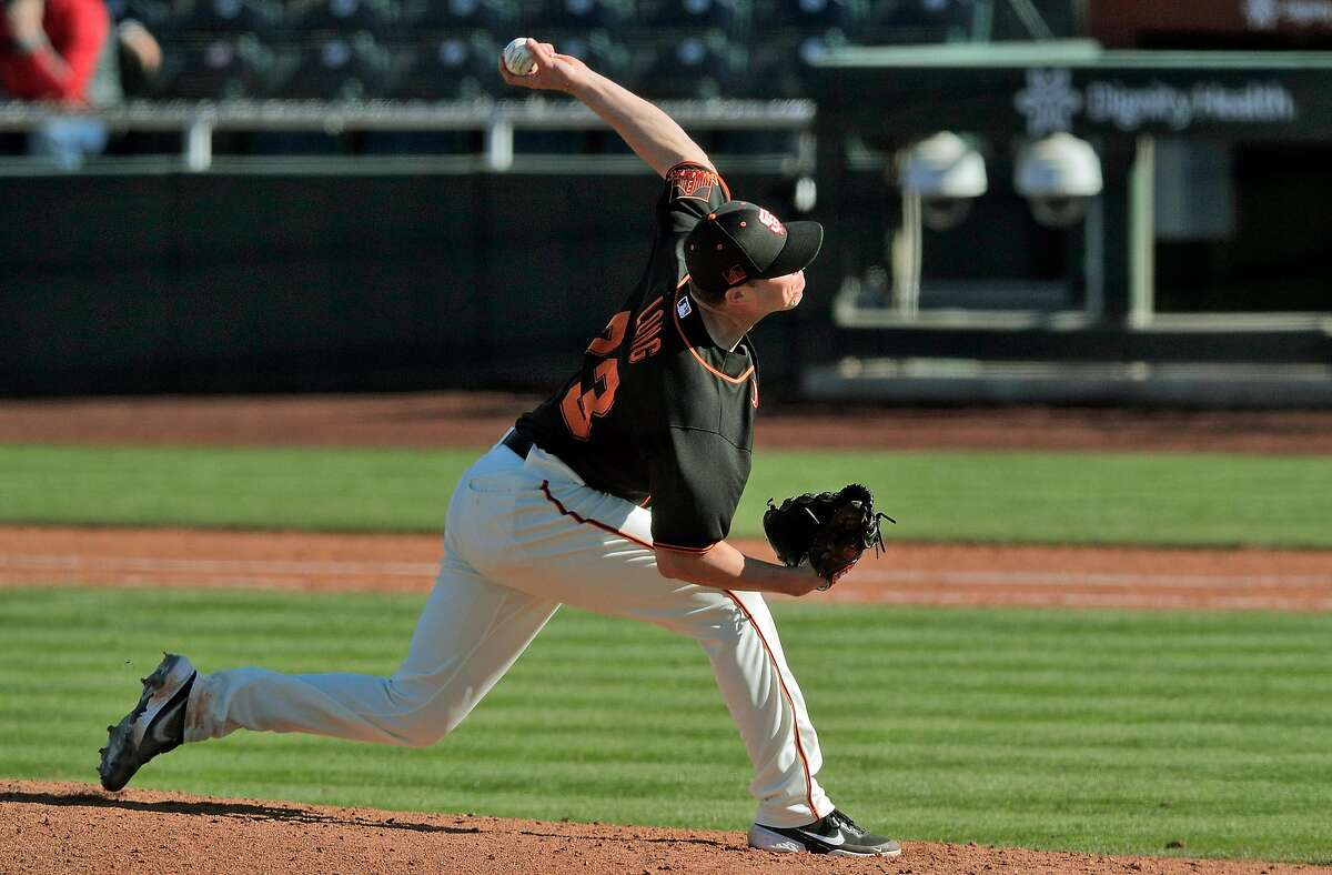 Giants hopeful Sam Long solved issues with his back and is now hitting the upper 90s with his pitches.
