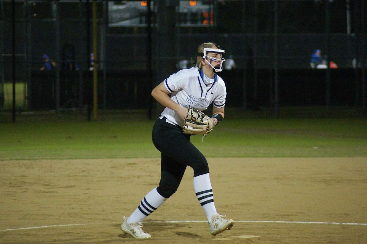 Clear Springs' Emma Strood (13) shut down Humble Kingwood Friday night in Class 6A softball playoff action.