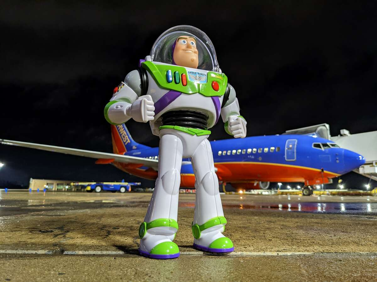 Southwest Airlines workers gave Buzz Lightyear a tour of the airport before returning him.