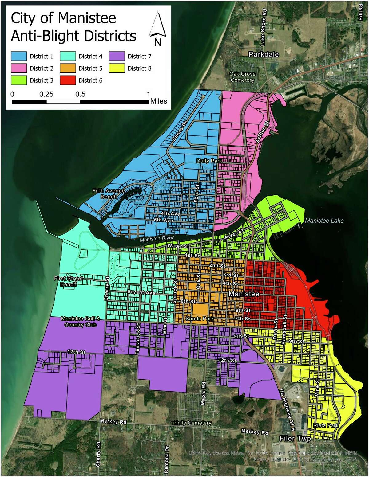 The City Manistee's blight ordinance amendment takes effect on Friday and then the city will be heading into peak enforcement for blight. The city is divided into eight districts which are each assigned to a Manistee City Police officer for enforcement and a point of contact. (Courtesy image)