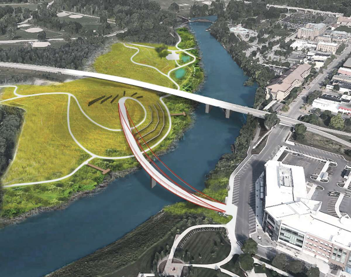 The City of Midland and the Michigan Baseball Foundation are working to restore a former 4D manufacturing site into a riverside park with a pedestrian bridge. (Photo provided/Michigan Baseball Foundation)