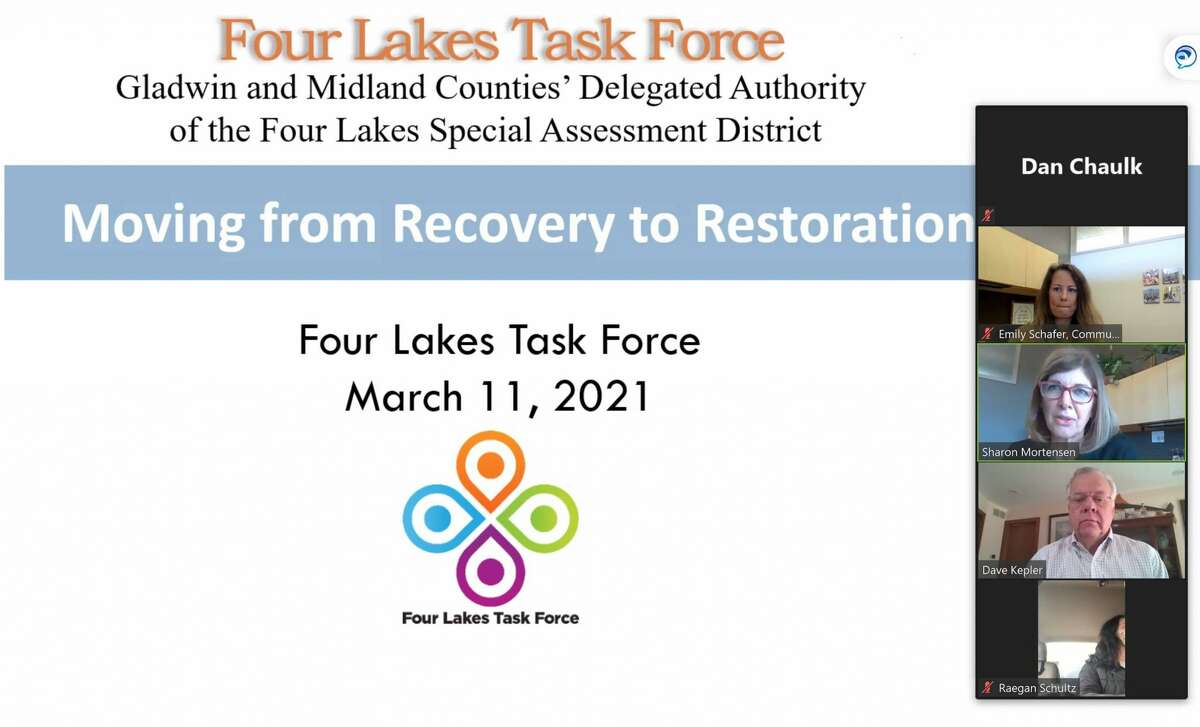 """Four Lakes Task Force board chair David Kepler gave a presentation updating the progress of dam repairs at the Midland Area Community Foundation and Midland's Long-Term Recovery Group's """"Flood Recovery Session"""" on March 11, 2021. (Mitchell Kukulka/Mitchell.Kukulka@mdn.net)"""