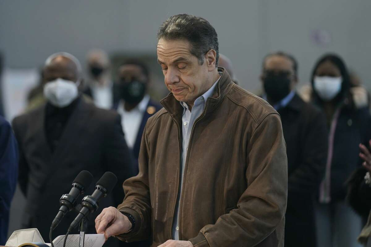 New York Gov. Andrew Cuomo speaks at a vaccination site on Monday, March 8, 2021, in New York. (AP Photo/Seth Wenig)