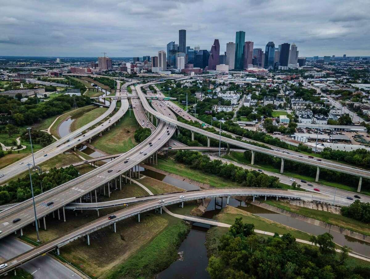Interstate 10 runs into Interstate 45 near Stude Park along White Oak Bayou, seen on Sept. 24, 2020, in Houston.