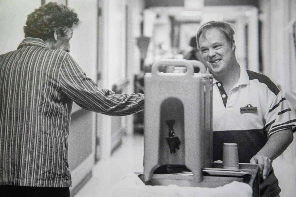 A photo of Daniel Kirwan volunteering at a nursing home as seen Thursday, March 11, 2021 at Senior Life Midland. Jacy Lewis/ Reporter-Telegram
