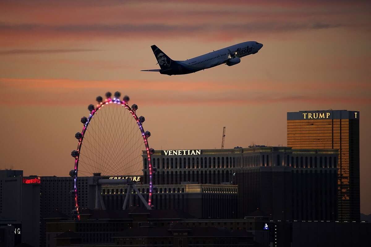 A plane takes off from McCarran International Airport in Las Vegas last month.