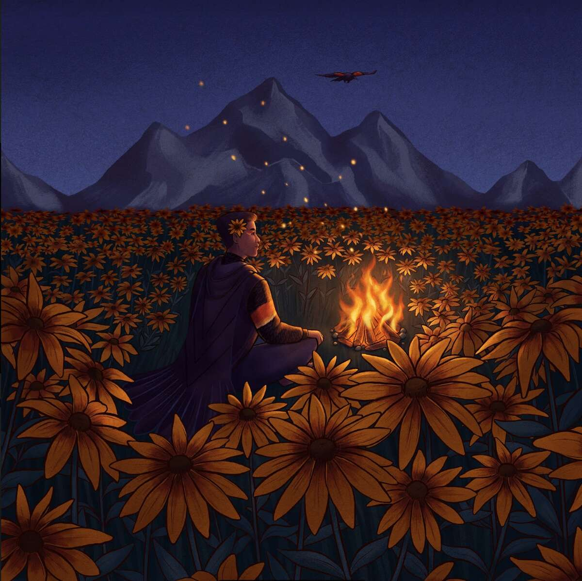 Artist Lucy Nguyen's illustration for Hudson Valley Seed Company's Campfire Rudbeckia.