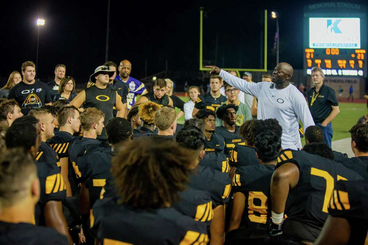 Klein Oak head coach Jason Glenn emotional talk to his team on the field after the football game between Klein Oak vs Cy Creek during a high school football game at the Klein Memorial Stadium, Friday, September 6, 2019, in Spring. Klein oak defeated Cy Creek 23-21. (Juan DeLeon/Contributor)