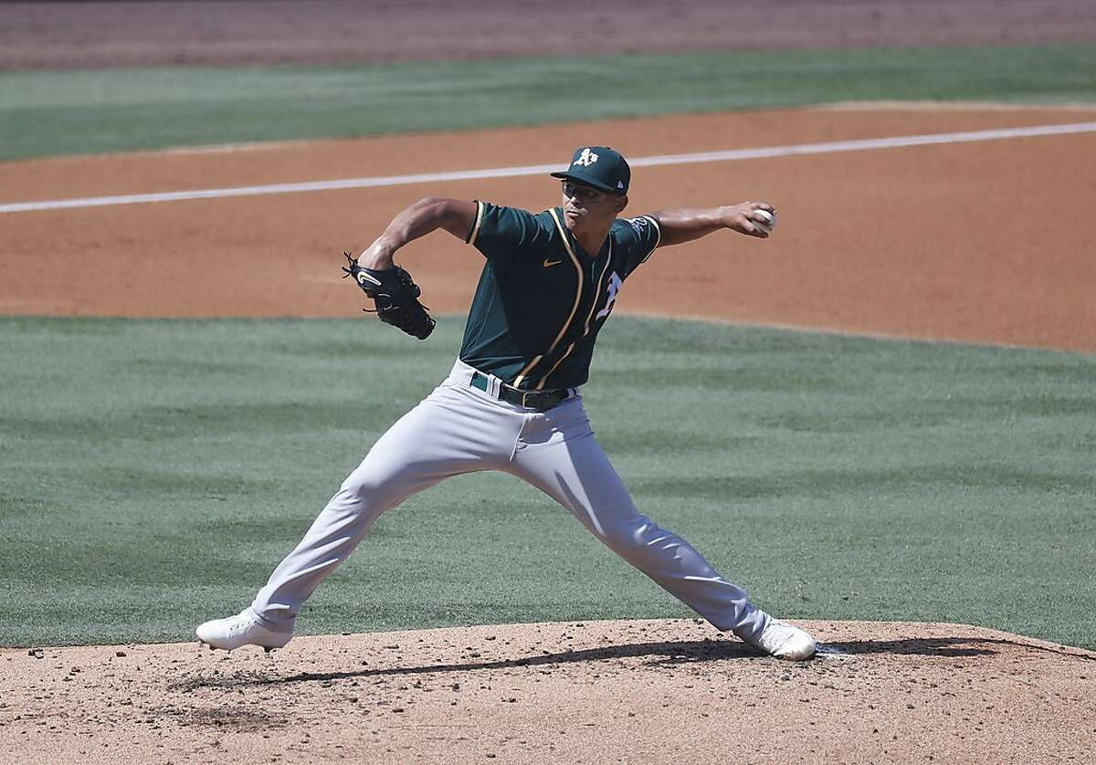 Oakland Athletics starting pitcher Jesus Luzardo, here throwing in Game 3 of the American League Division Series in October, tossed four hitless innings on Thursday.