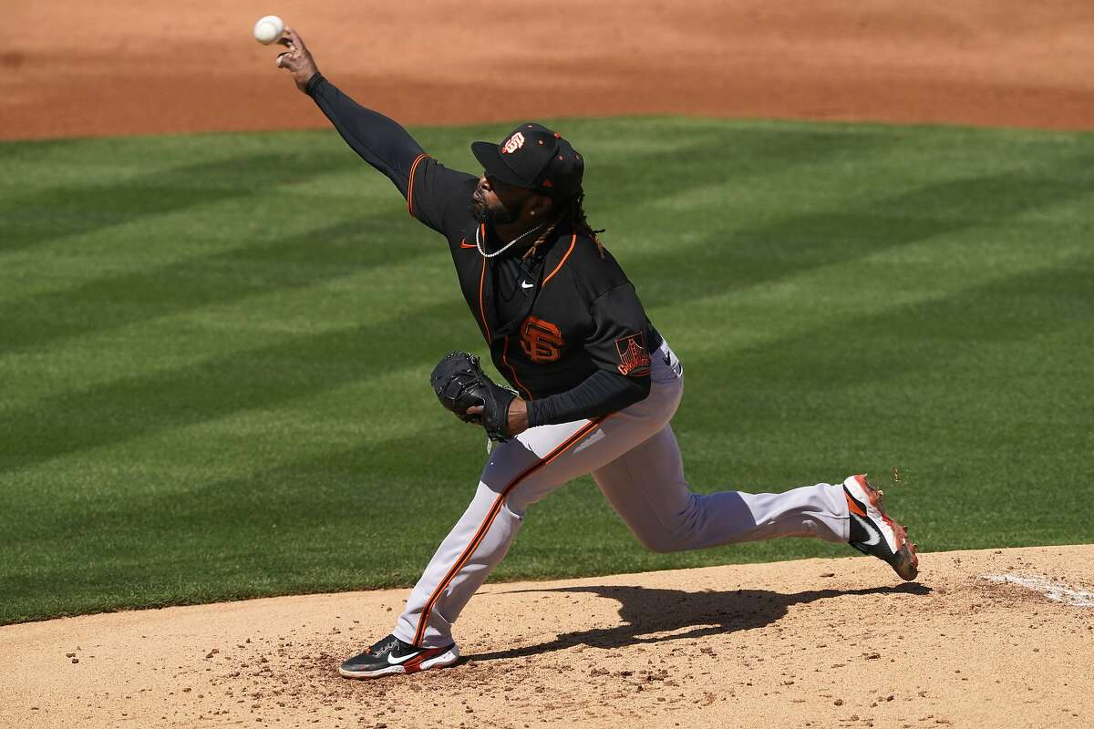Giants pitcher Johnny Cueto went three innings against the Angels on Thursday, giving up five hits and a pair of runs while striking out two and not walking a batter.