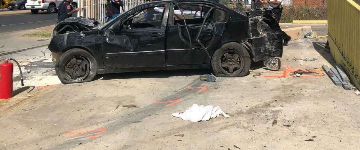 This black Chevy Malibu crashed at a local business following a pursuit with authorities on Nov. 5. One immigrant who was riding in the trunk would later die at the Laredo Medical Center.