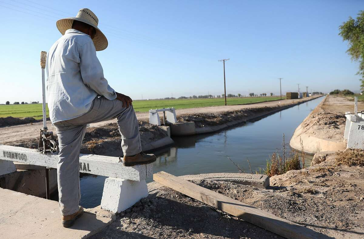Adolfo, a documented migrant day laborer who lives in Mexico, works irrigating an alfalfa field in Imperial County in July.