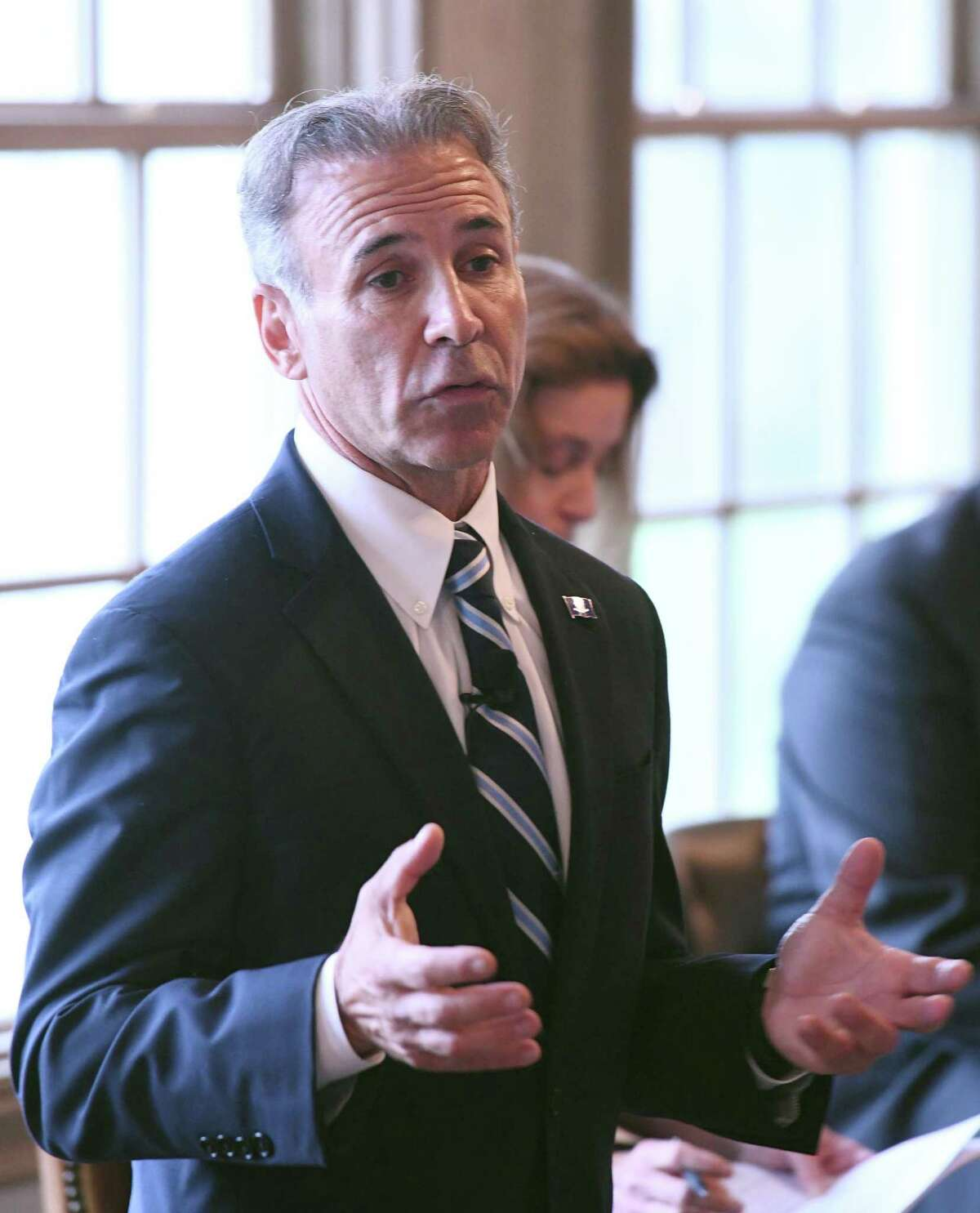 Republican candidate for First Selectman Fred Camillo speaks at the Greenwich Association of Realtors forum for First Selectman candidates at the Field Club of Greenwich in Greenwich, Conn. Wednesday, Oct. 16, 2019.