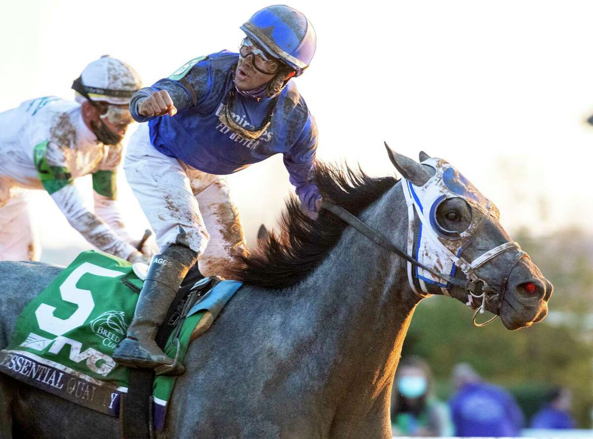 Jockey Luis Saez pumps his fist after winning the $2M Breeders?• Cup Juvenile (G1) on Essential Quality at Keeneland Race Course Friday Nov. 6 2020 in Lexington, KY. Photo by Skip Dickstein/Tim Lanahan, Special to the Times Union