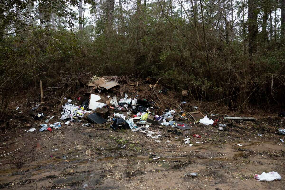 As seen, a dumpsite is located in Sam Houston National Forest, Thursday, Feb. 25, 2021, in Montgomery.