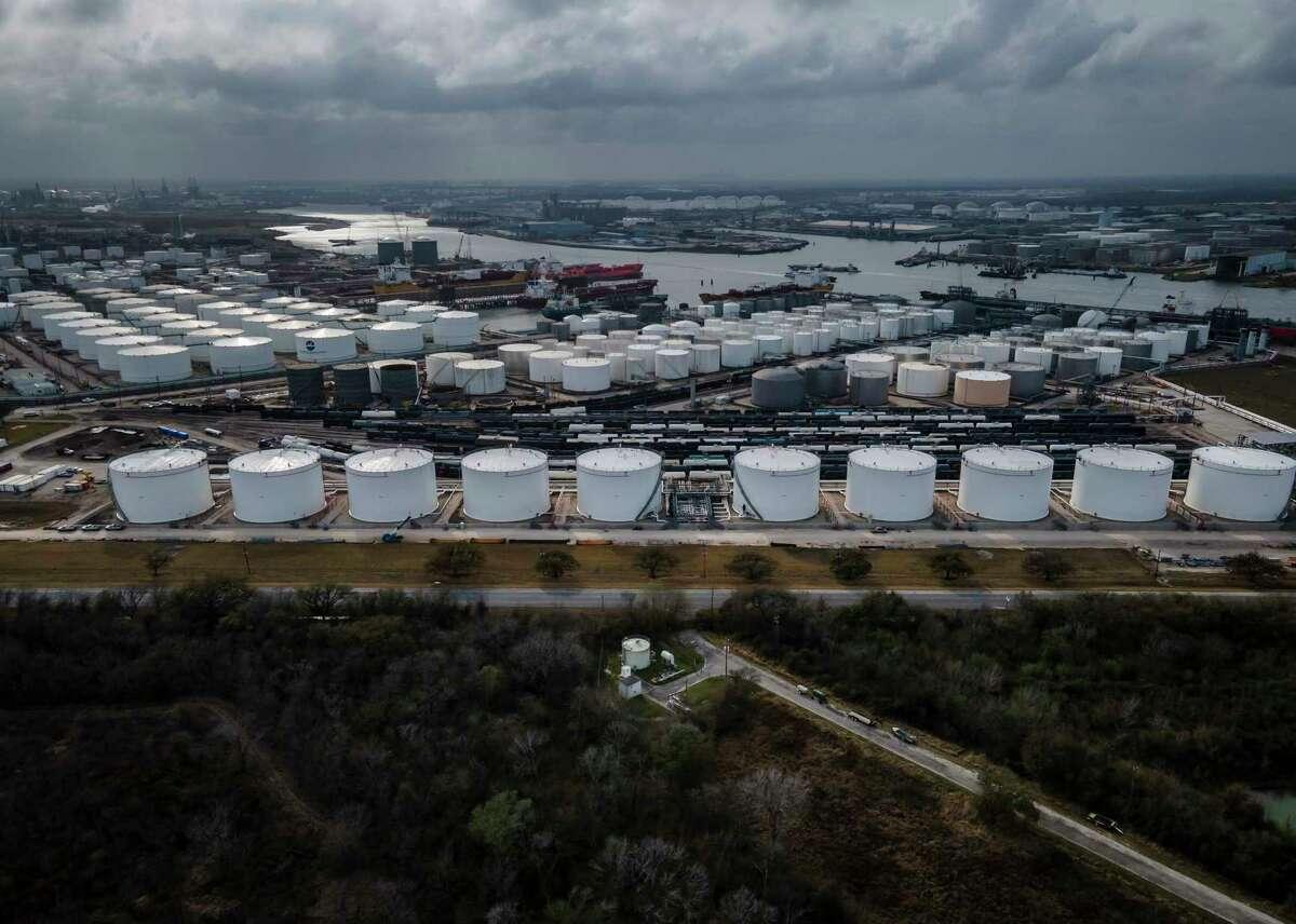 Storage tanks fill the landscape along the Houston Ship Channel.