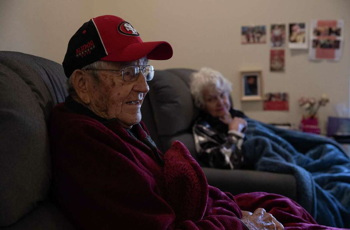 Ken Casanega, 100, the oldest living member of the 49ers, and his wife, Helen, 99, in their apartment in the assisted living facility, The Springs at Veranda Park, on March 4th, 2020, in Medford, Oregon.