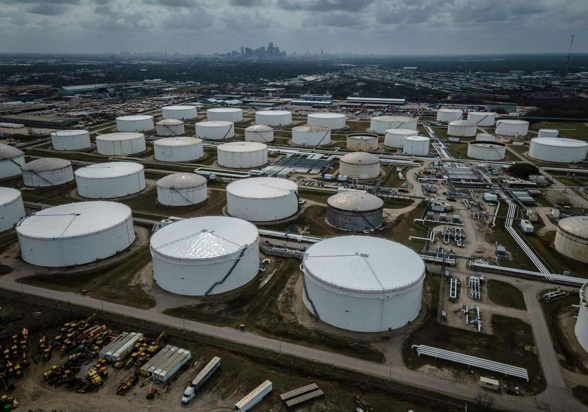 Storage tanks dot the landscape northeast of downtown Houston.