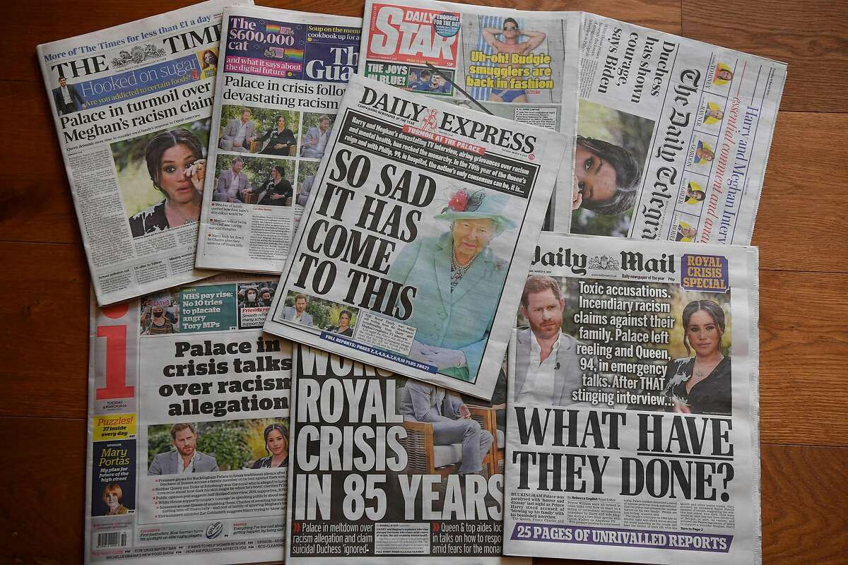 British newspapers jumped on the bombshells in Oprah's interview.
