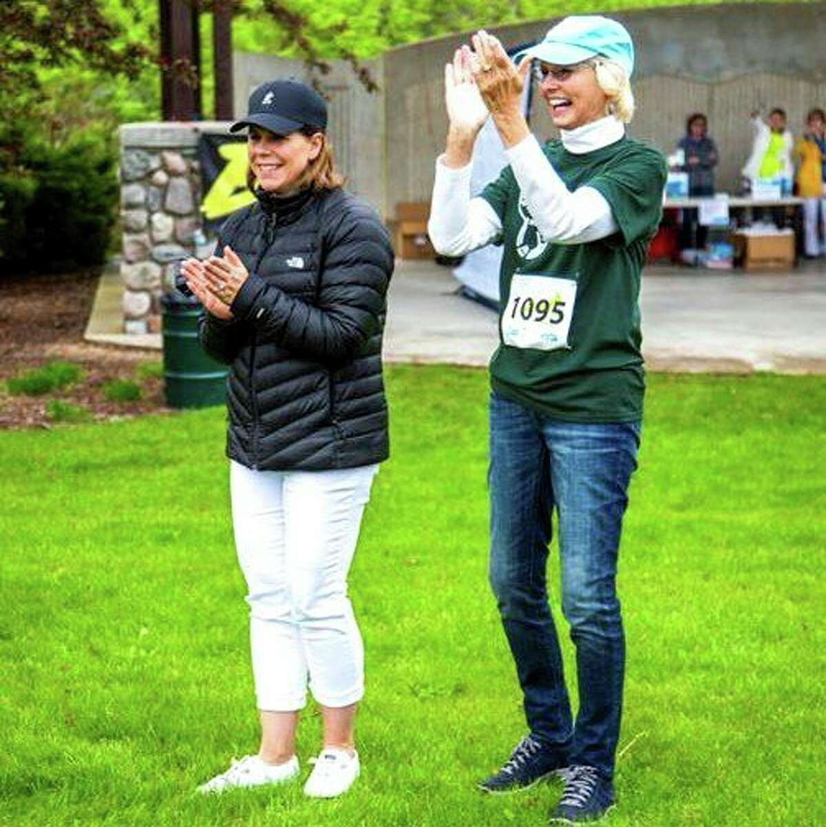 Andrea Leslie (left) is pictured cheering with Susan Wheatlake at the 2019 Wheatlake Festival of Races. (Courtesy photo)