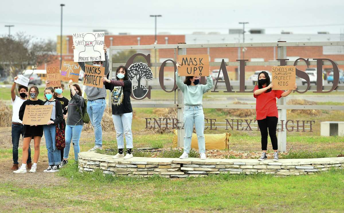 New Braunfels Canyon High School students protest the lifting of the mask mandate. Come on, Comal ISD? It's too hard to put health and well-being first?