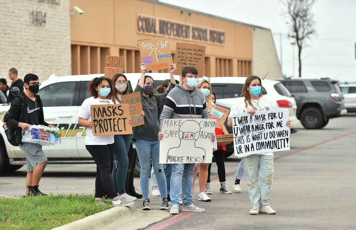 New Braunfels Canyon High students protest Comal ISD's recent decision to lift its mask mandate. Given the choice, the district opted to jettison the science.