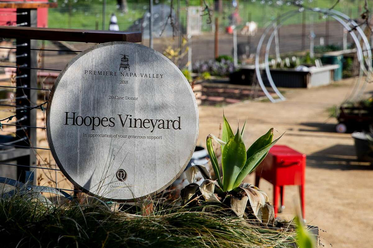 A plaque in the garden area of Hoopes Vineyard in Napa.