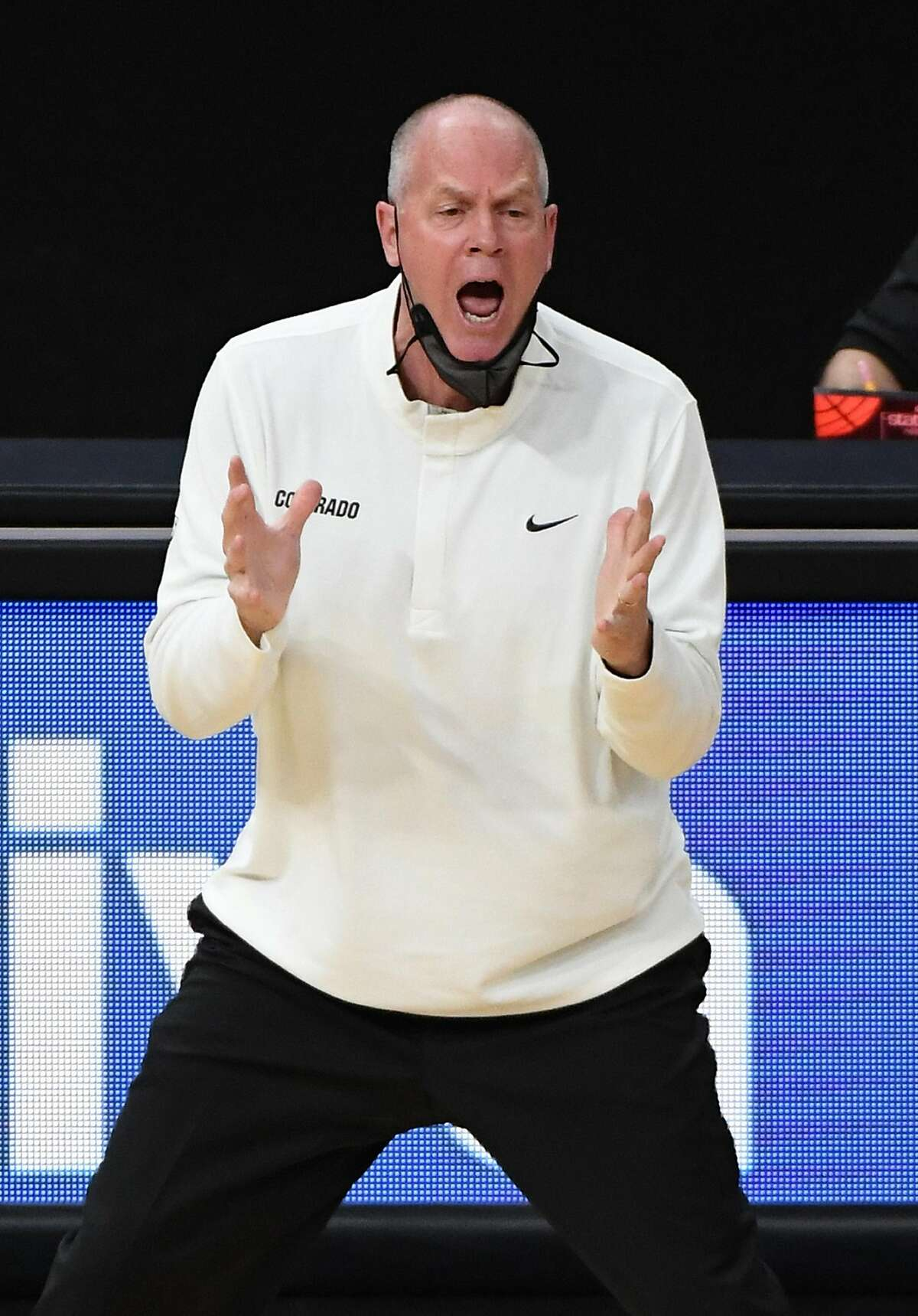 LAS VEGAS, NEVADA - MARCH 11: Head coach Tad Boyle of the Colorado Buffaloes reacts as his team takes on the California Golden Bears during the quarterfinals of the Pac-12 Conference basketball tournament on March 11, 2021 in Las Vegas, Nevada. (Photo by Ethan Miller/Getty Images)