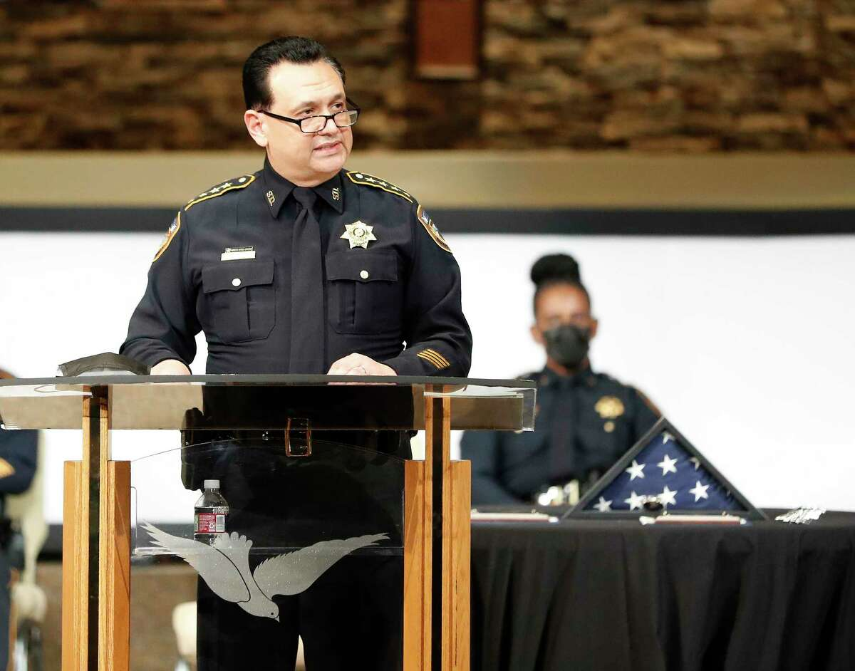 Sheriff Ed Gonzalez speaks during graduation of class B1-2020 of the Harris County Sheriff's office at the Humble First Assembly in Humble, Tuesday, Jan. 26, 2021.