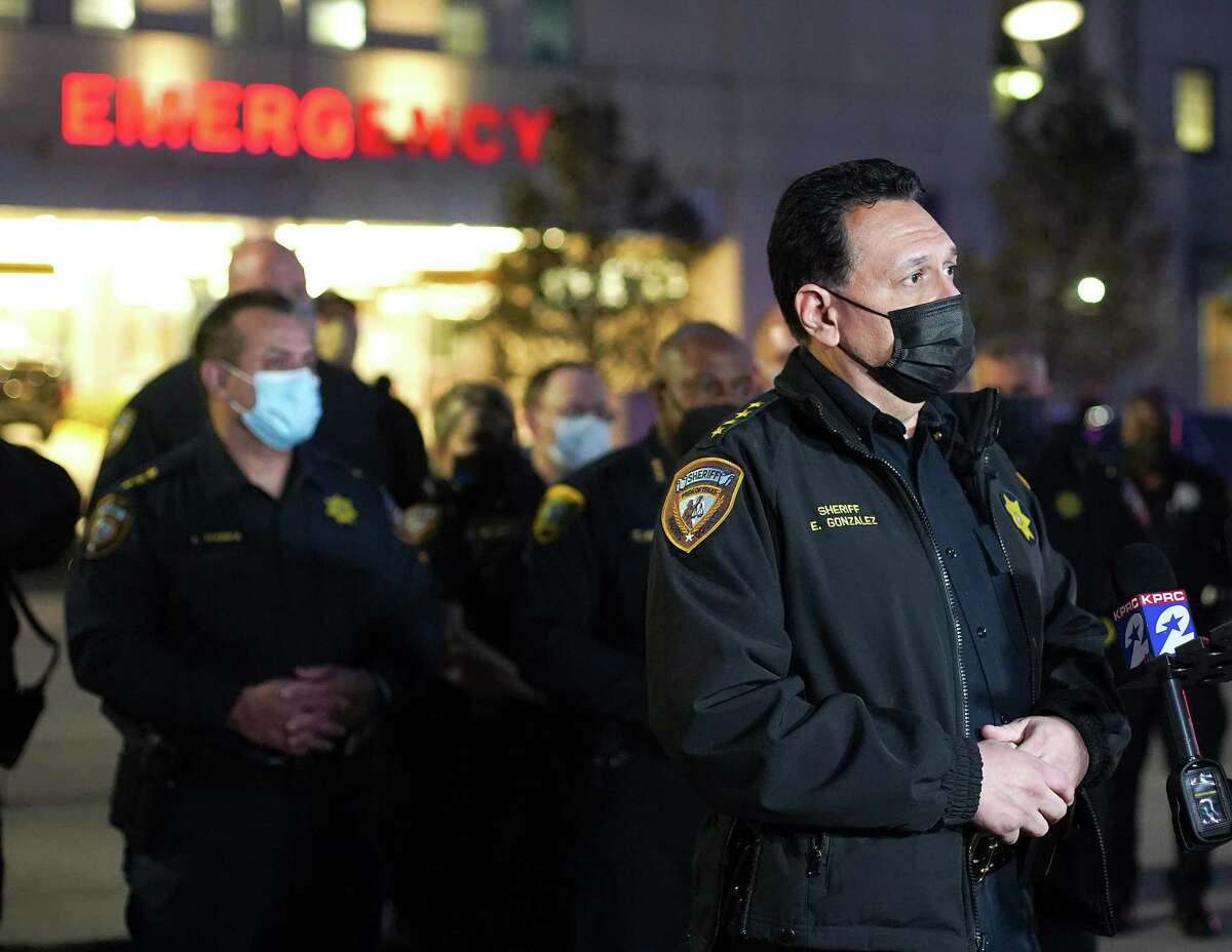 Harris County Sheriff Ed Gonzalez talks to the media about Sgt. Bruce Watson on Saturday, Jan. 2, 2021 outside Hermann Memorial Hospital in Houston. Sgt. Watson died from injuries from a motorcycle accident.