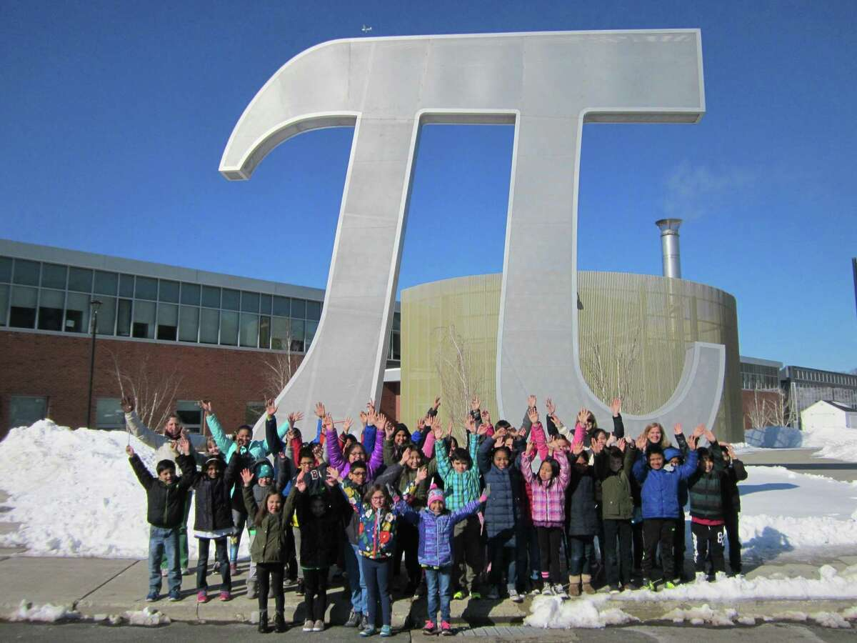Students celebrate Pi Day at Danbury's Henry Abbot Tech High School in 2017.