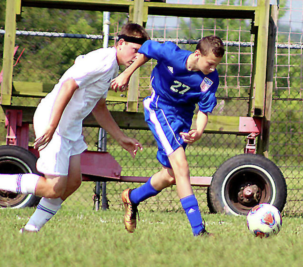 Levi Yudinski of Carlinville, right, scored his team's first goal of the season and its first on the Cavies' new artificial turf field, in Thursday night's 3-0 victory over Staunton. He is shown in action last season.