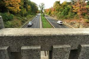 The Merritt Parkway looking southbound from the Morehouse Highway bridge in Fairfield in 2015.