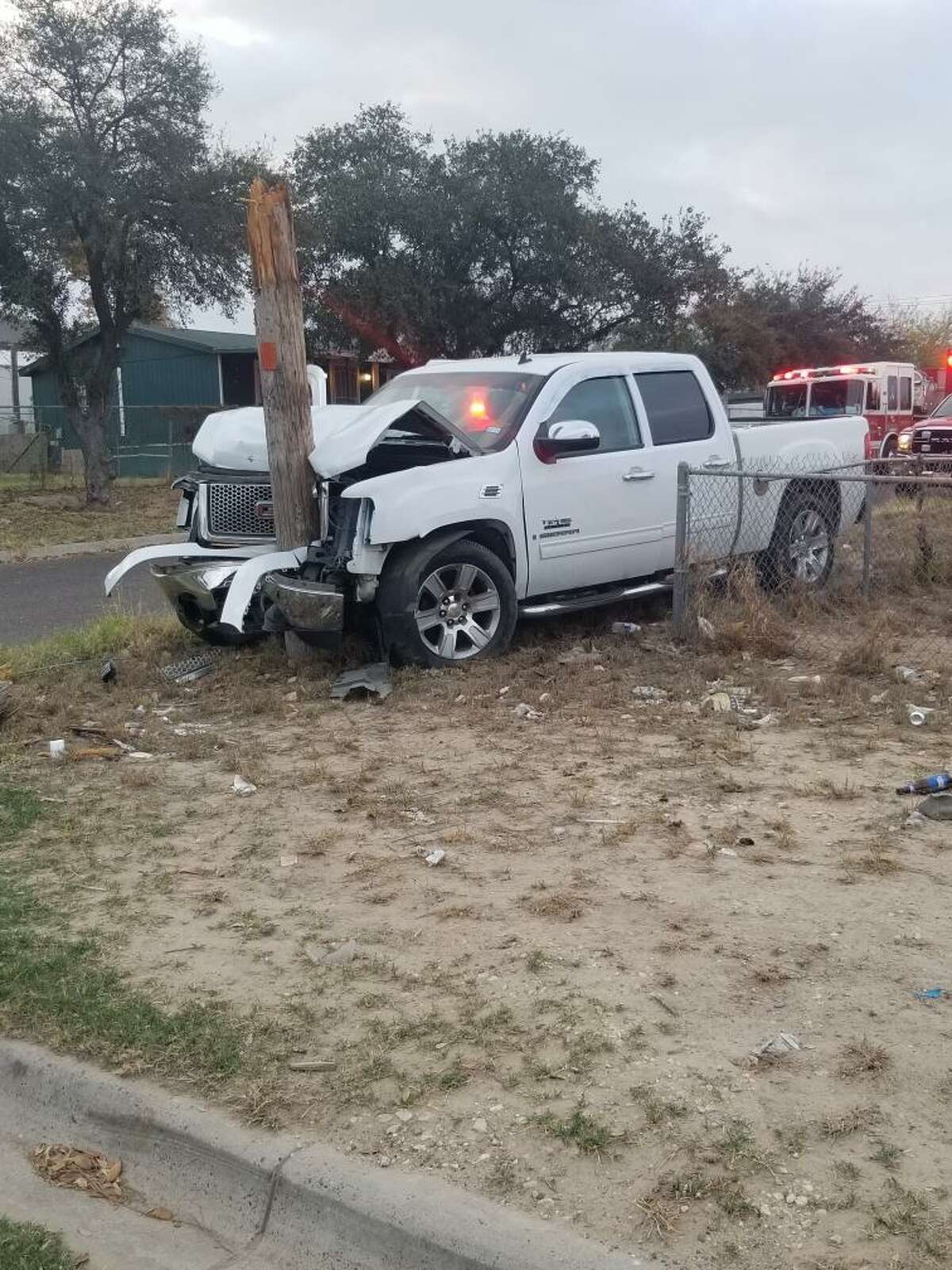 A GMC Sierra crashed into a utility pole early Friday in the intersection Pierce Street and Pinder Avenue. A male patient refused treatment or transportation to a local hospital.
