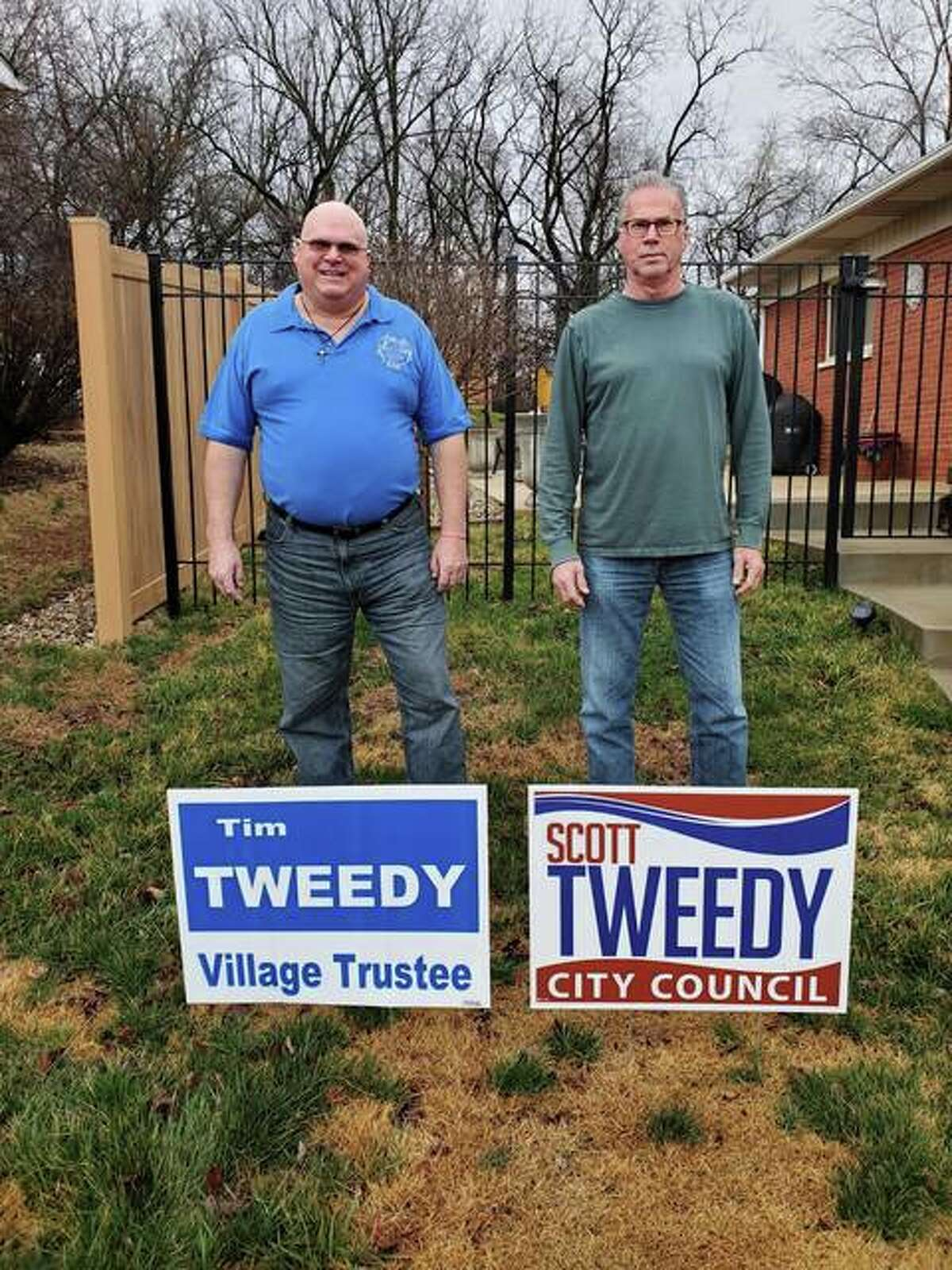 Brothers Tim Tweedy, left, and Scott Tweedy, right are both on the April 6 ballot - in separate races. Tim Tweedy is running for a seat on the Bethalto Village Board of Trustees. Scott Tweedy is seeking a seat on the Wood River City Council.