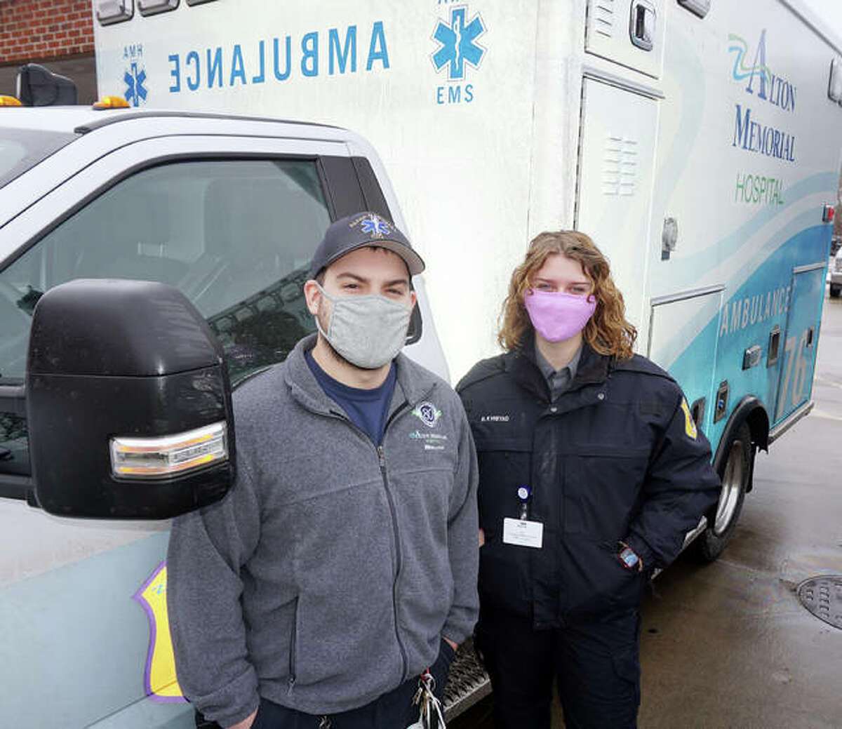 Brian Fogarty and Ruth Kvistad of the Alton Memorial Hospital EMS team are both heading to medical school later this year.