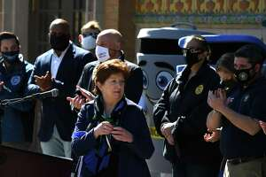 Albany Mayor Kathy Sheehan holds a press conference at the Washington Park Playhouse where she highlighted new jobs and quality of life and fiscal initiatives for the city on Friday, March 12, 2021, at Washington Park in Albany, N.Y.  (Will Waldron/Times Union)