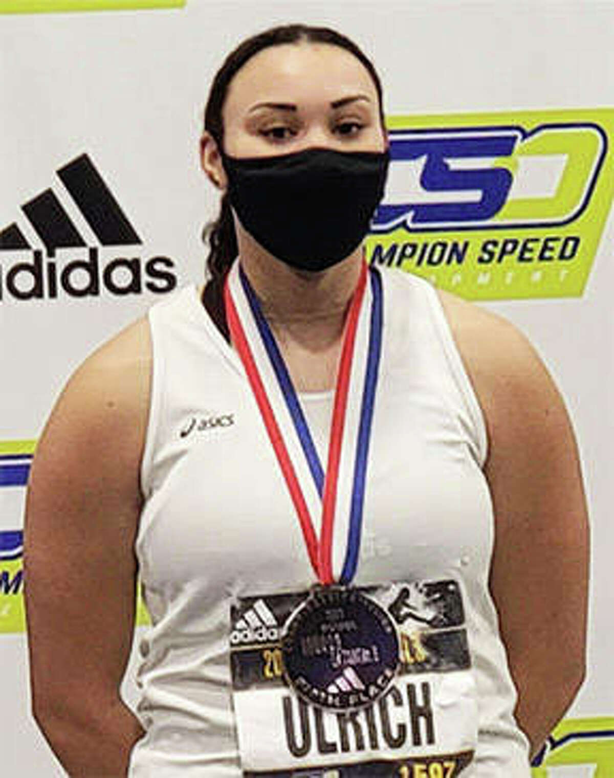 Wood River's Jayden Ulrich poses with her fifth-place medal in the shot put at the 2021 adidas Indoor Nationals at Virginia Beach Sport Center on Feb. 28 at Virginia Beach, Va.