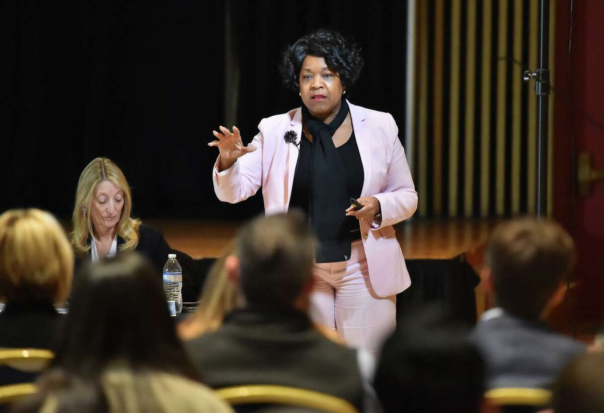 CPS CEO Paula Gold Williams speaks during a CPS Energy public input meeting on the city's climate action and adaptation plan that aspires San Antonio tp by carbon-neutral by 2050.