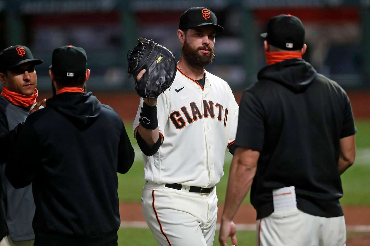 San Francisco Giants' Brandon Belt reacts after final out of Giants' 7-2 win over Colorado Rockies in MLB game at Oracle Park in San Francisco, Calif., on Wednesday, September 23, 2020.
