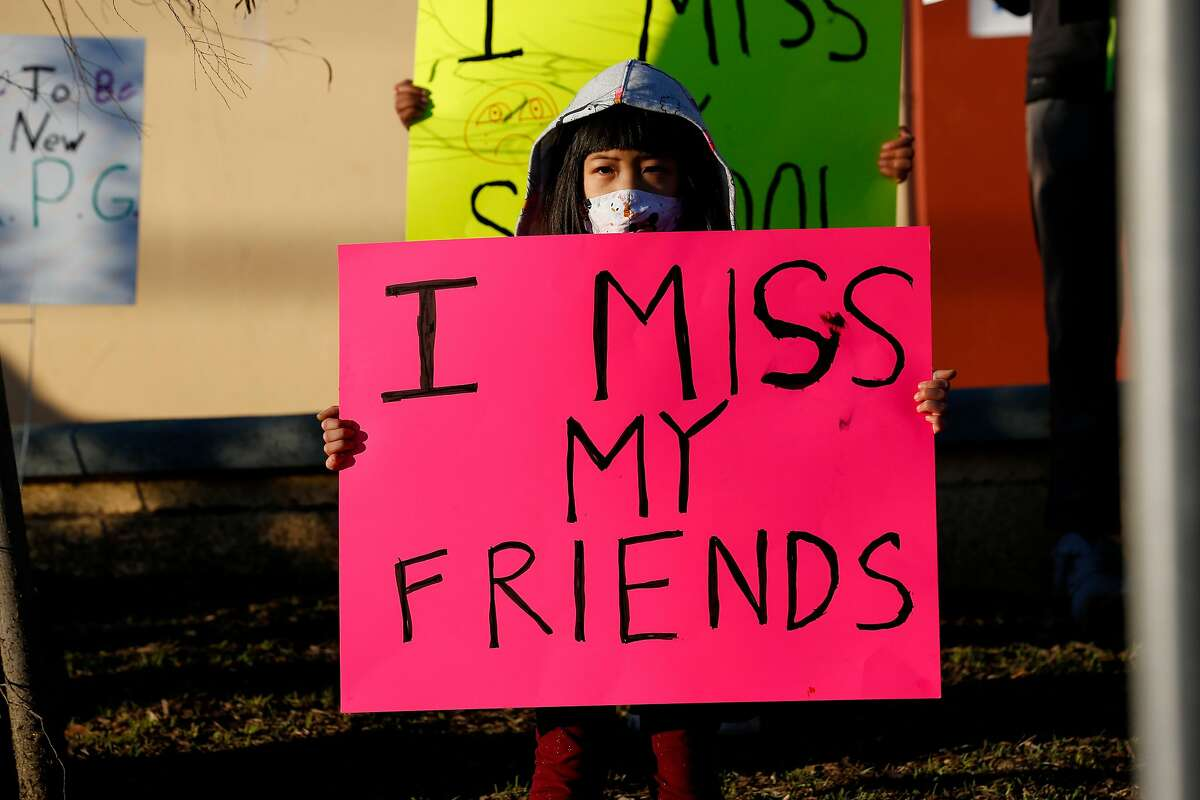 Charlotte Yee, 7, makes her statement at a Feb. 4 San Francisco rally calling for public schools to reopen.