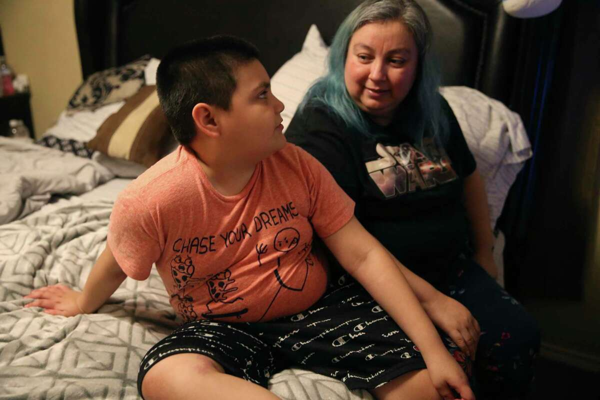 """Bianca Davila and son Jordan discuss how he left two charter schools after failing to receive special education services. A new study finds such student mobility is a problem in Bexar County, particularly in charter schools that """"counsel out"""" students with learning or behavior issues."""