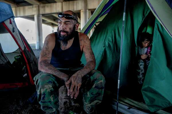 Victor Carrizales is one of dozens of people living under the I-37 overpass.