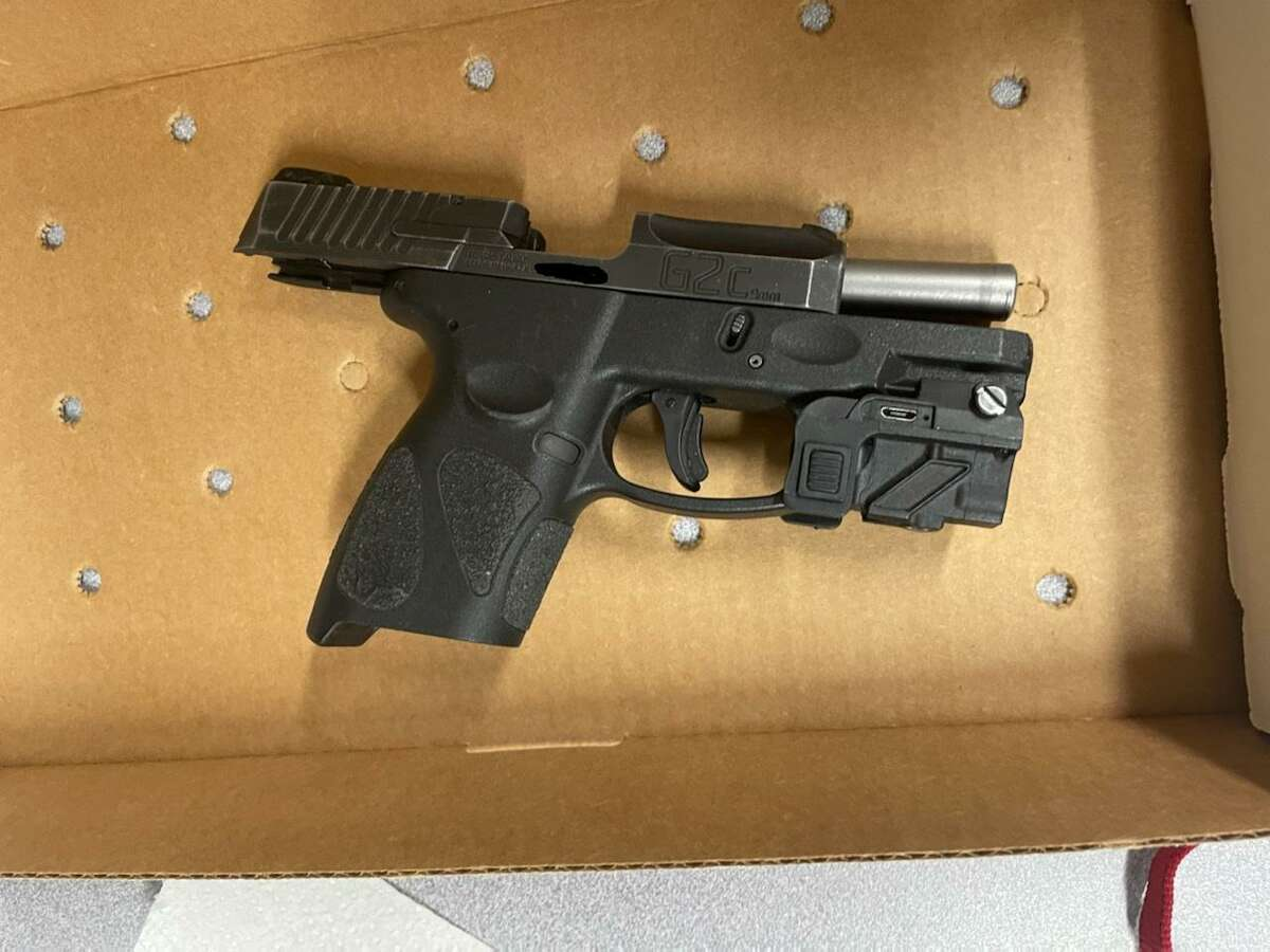 The gun seized during an arrest on Thursday, March 11, 2021, in Derby, Conn.