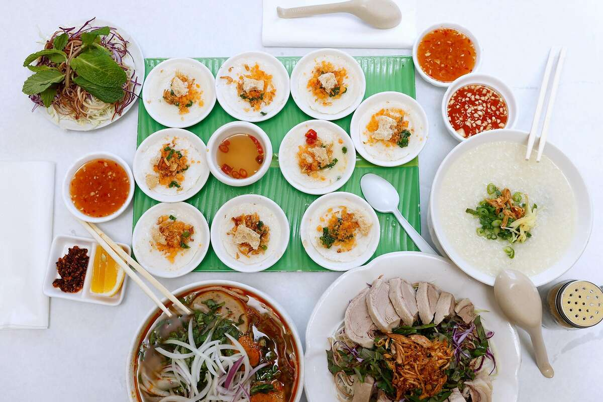 A selection of dishes from Vit Dong Que restaurant in east San Jose, California on Friday, March 6, 2021.