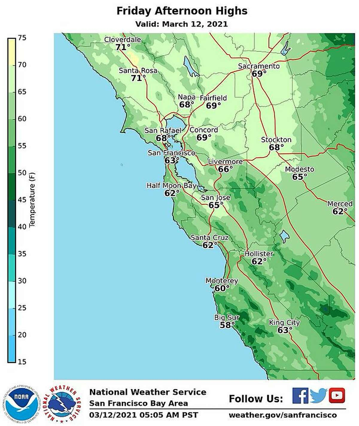 National Weather Service map of Bay Area temperatures